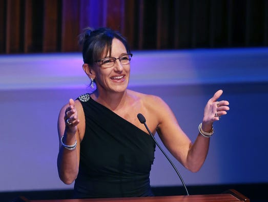 Allison Melangton, president of the Indiana Sports Corp., who was CEO and president of the 2012 Indianapolis Super Bowl committee, is shown at the Indiana Historical Society's Living Legends 2014 Gala that honored her and four other Hoosiers at the Indiana History Center in Indianapolis on Friday, July 25, 2014.