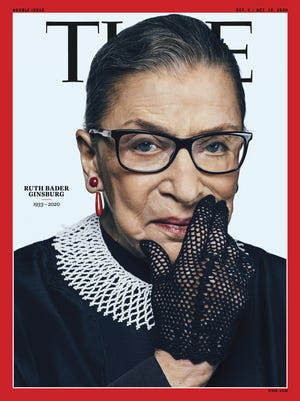 This photo provided by Time shows the cover of Time magazine with tribute Supreme Court Justice Ruth Bader Ginsurg on the cover.   Time will feature Ginsburg for an October double issue presenting the 2020 Time 100 list of the world's most influential people.  Ginsburg, who became the court's second female justice, died at her home in Washington on Friday, Sept. 18, 2020. She was 87.