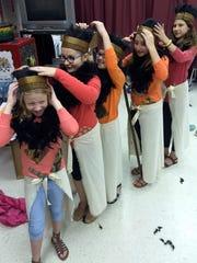 Five girls from Stuarts Draft Elementary School play