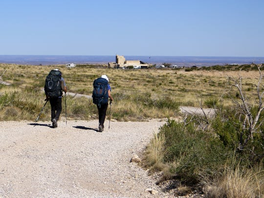 Hikers take to a trail at Carlsbad Caverns National Park.