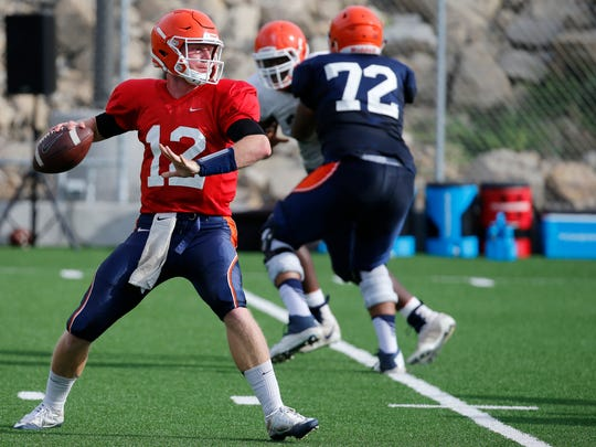 UTEP quarterback Ryan Metz during practice as the teams prepares for its opening game against Oklahoma University in Norma, Ok., on Saturday September 2.