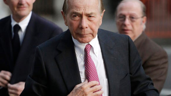 FILE - In this Jan. 9, 2013 file photo, former AIG CEO Maurice Greenberg for a meeting of the insurance company's board of directors, in New York.