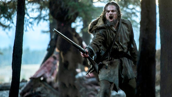 "Leonardo DiCaprio wearing a costume designed by Jacqueline West in a scene from ""The Revenant."""