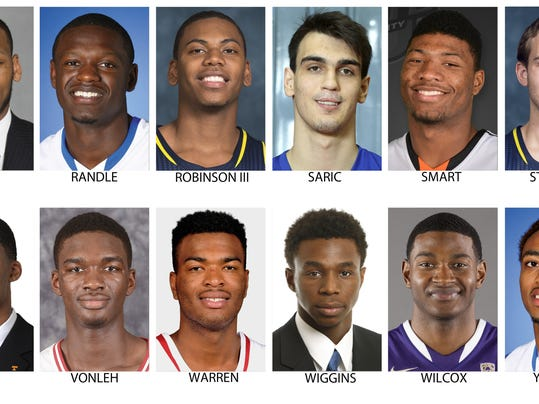 These are possible picks for the NBA Draft, June 26, 2014 in New York. Top row from left are Adreian Payne, Michigan State; Julius Randle, Kentucky; Glenn Robinson III, Michigan; Dario Saric, Cibona Zagreb (Croatia); Marcus Smart, Oklahoma State and Nik Stauskas, Michigan. Bottom from left are Jarnell Stokes, Tennessee; Noah Vonleh, Indiana; T.J. Warren, North Carolina State; Andrew Wiggins, Kansas; C.J. Wilcox, Washington and James Young, Kentucky.  (AP Photo)