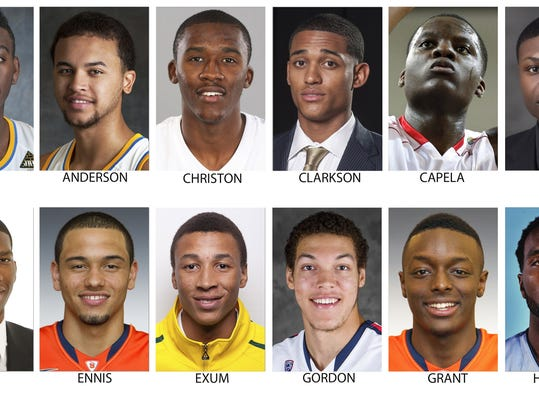 These are possible picks for the NBA Draft, June 26, 2014 in New York. Top row from left are Jordan Adams, UCLA; Kyle Anderson, UCLA; Semaj Christon, Xavier; Jordan Clarkson, Missouri; Clint Capela, Chalon (France) and Cleanthony Early, Wichita State. Bottom from left are Joel Embiid, Kansas; Tyler Ennis, Syracuse; Dante Exum, Australia; Aaron Gordon, Arizona, Jerami Grant, Syracuse and P.J. Hairston, Texas Legends. (AP Photo)