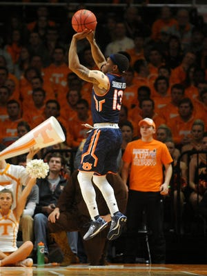 Auburn Tigers guard Tahj Shamsid-Deen (13) shoots the ball against the Tennessee Volunteers at Thompson-Boling Arena. Mandatory Credit: Randy Sartin-USA TODAY Sports