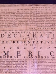 A rare copy of the 1776 John Holt broadside printing of the Declaration of Independence is displayed in the Treasures of Military Past exhibit at the Cincinnati Museum Center.