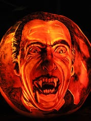Dracula carved into one of the pumpkins at the Jack-O-Lantern Spectacular at Iroquois Park in Louisville, KY. Oct. 13, 2017