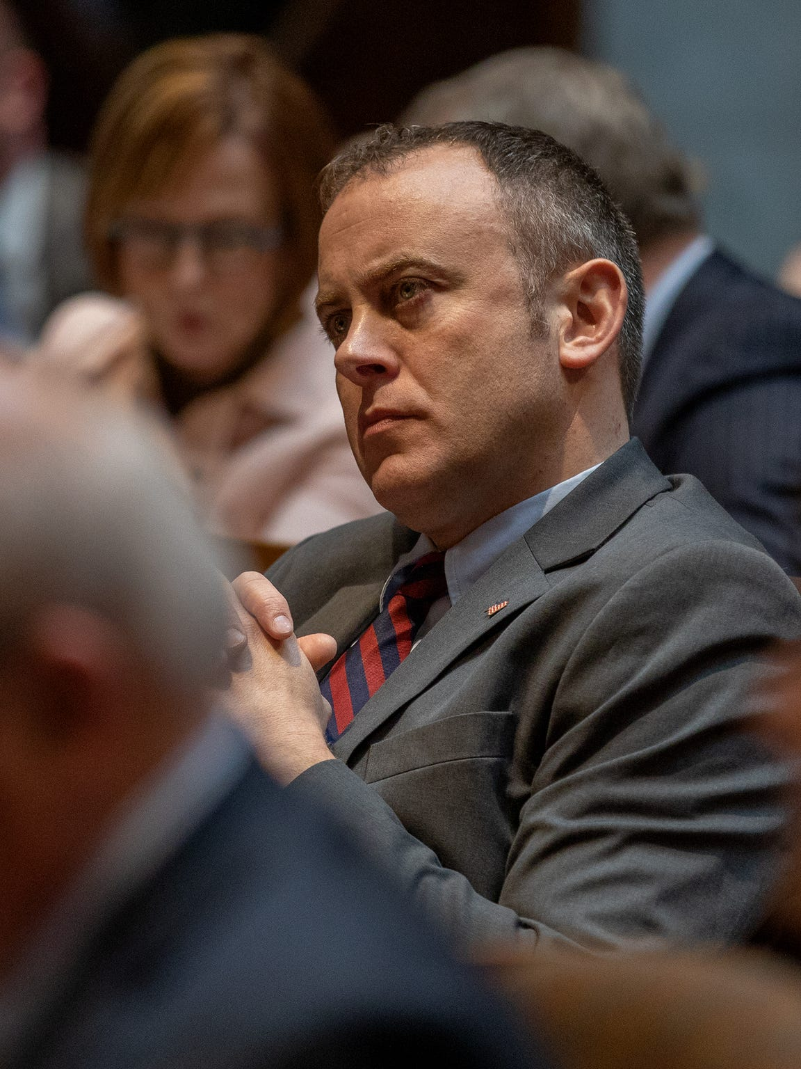"Assembly Minority Leader Gordon Hintz, D-Oshkosh, said fast-tracking was used extensively at the beginning of Walker's tenure for bills that helped Republicans gain a political advantage, including redistricting, voter ID and Act 10. He is seen at the ""state of the state"" address at the Capitol last January."