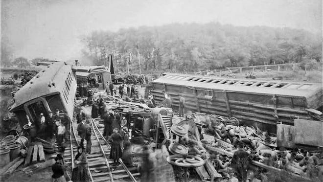The wreckage of the Denver Express, just east of Monmouth, on Oct. 21, 1891. Four died and 28 were injured in the crash.