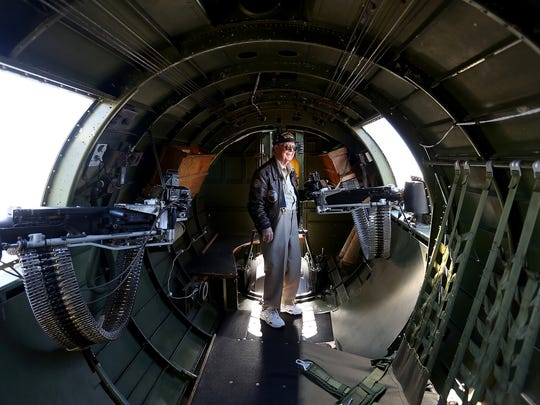 Retired Air Force Pilot Stanton Rickey, 95, of Dallas, stands inside a World War II B-17 bomber at the Salem Municipal Airport on Wednesday, Sept. 9, 2015. The Aluminum Overcast B-17G, part of a nationwide tour, will be on display and available for flights from Sept. 10-14.