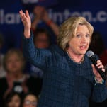 Democratic presidential candidate Hillary Clinton speaks during a campaign stop at Iowa Western Community College.