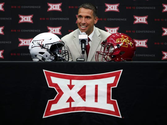 Iowa State football head coach Matt Campbell speaks during Big 12 media days in Frisco, Texas, on Monday, July 16, 2018.