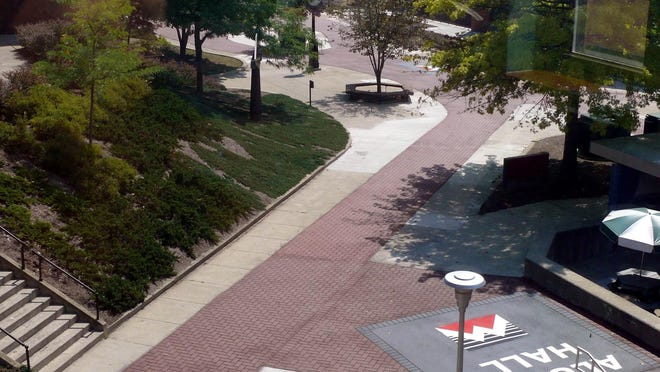 The walkway on the Mansfield University Student Mall, shown looking down from North Hall.