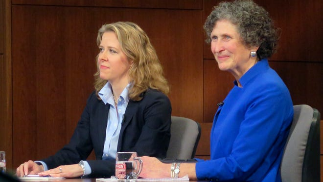 In this March 15 file photo, Justice Rebecca Bradley, left, and JoAnne Kloppenburg listen during a Wisconsin Supreme Court debate at Marquette University in Milwaukee.