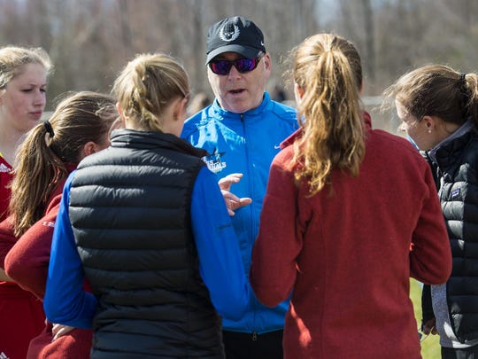 Champlain Valley Union High School track coach Scott Bliss in Hinesburg on Wednesday, April 29, 2015.