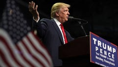 Donald Trump holds a campaign rally at the Giant Center