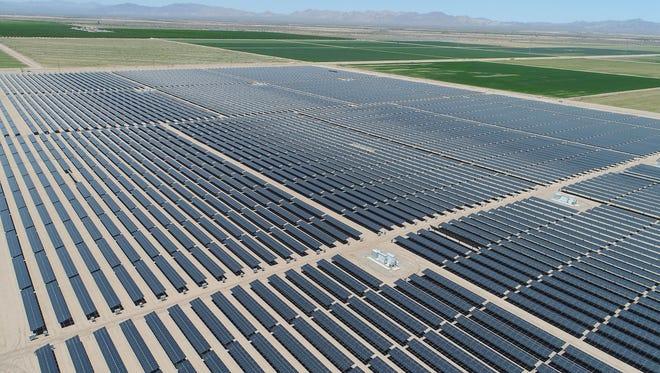 The 50-megawatt Sonora solar farm in Calipatria, California, part of the 150-megawatt Solar Gen 2 project, seen from a drone.