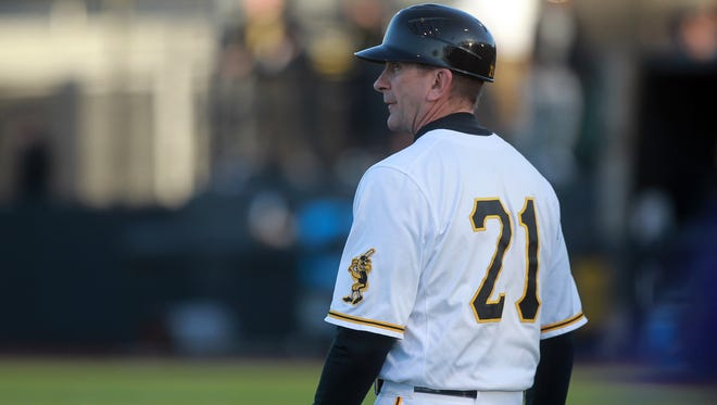 Iowa's Rick Heller is pictured during the Hawkeyes' game against Cornell College at Duane Banks Field on Tuesday, Feb. 27, 2018.