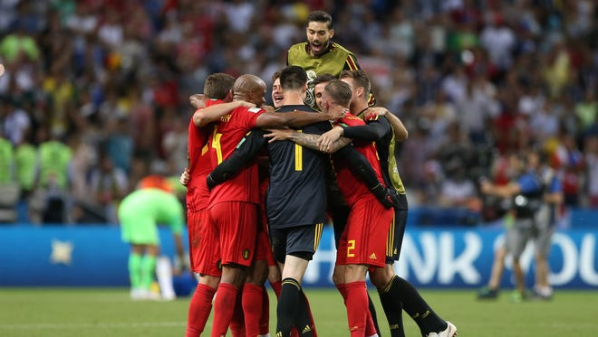 Belgium players celebrate after defeating Brazil in the quarterfinals during the FIFA World Cup 2018 at Kazan Stadium.