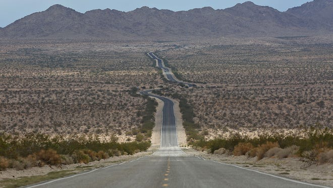 Highway 62 cuts through the Mojave Desert in this Oct. 8 photo.