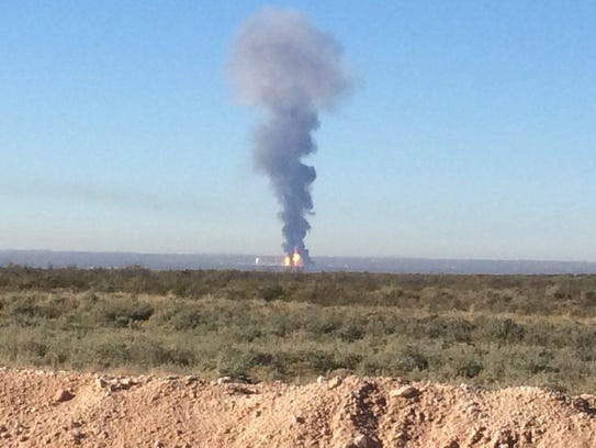The fire at the Ramsey Plant near Orla, Texas which