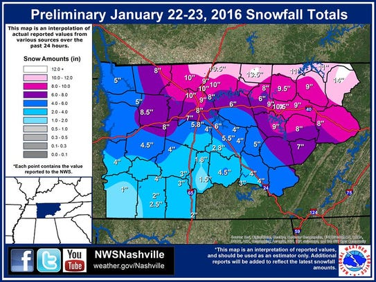 Map of preliminary snow totals from the January 22-23,