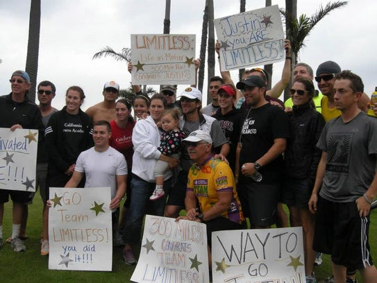 Justin Levine was met by an entire team of supporters