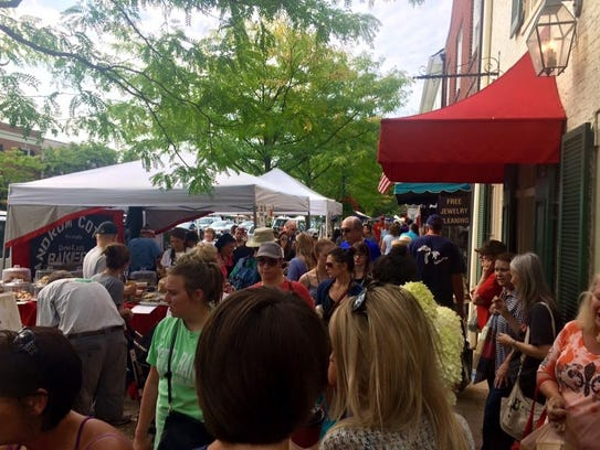 A busy day at the Worthington Farmers Market..  The