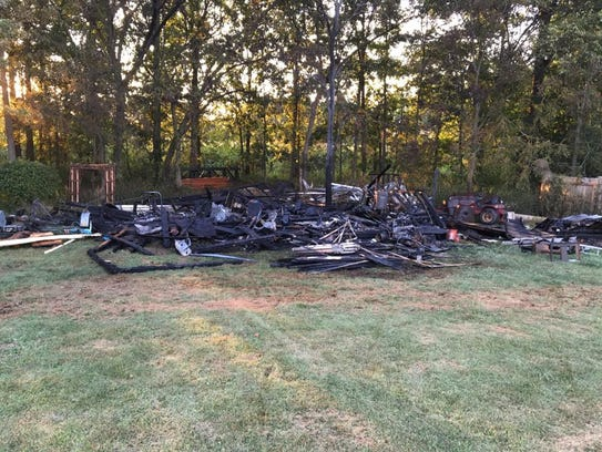The aftermath of the shed fire on Aug. 27, 2016