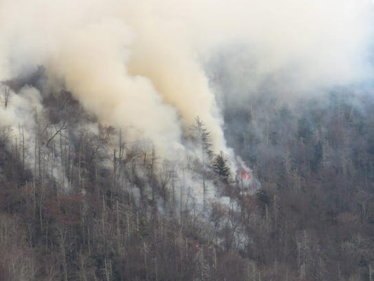 The Chimney Tops 2 fire was spreading rapidly in this photo, which the Great Smoky Mountains National Park posted on Facebook at 10:46 a.m. Nov. 28, 2016.