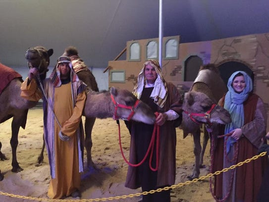 Animals from Hooker Farms participate in a nativity
