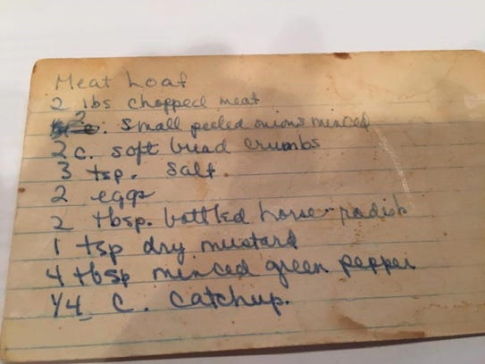 The family meatloaf recipe, from the 1940s.