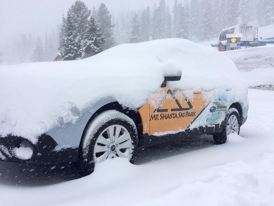Mt. Shasta Ski Park staff posted this view from its guest services patio on Facebook during last year's snowy season.