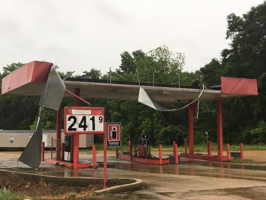 A gas station on US 49 in Flora took heavy damage on