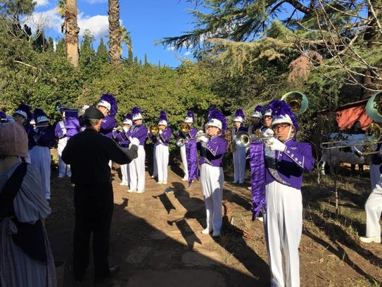 Shadow Hills High School marching band students perform