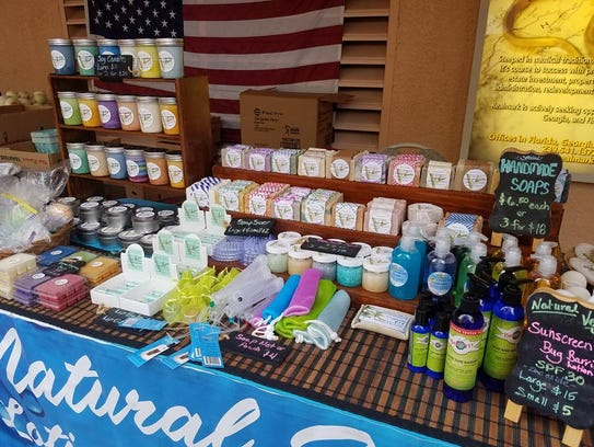 Handmade soy candles, sunscreen and lip balm are just