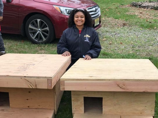 Ayanna Yhap with two of her cat habitats before they