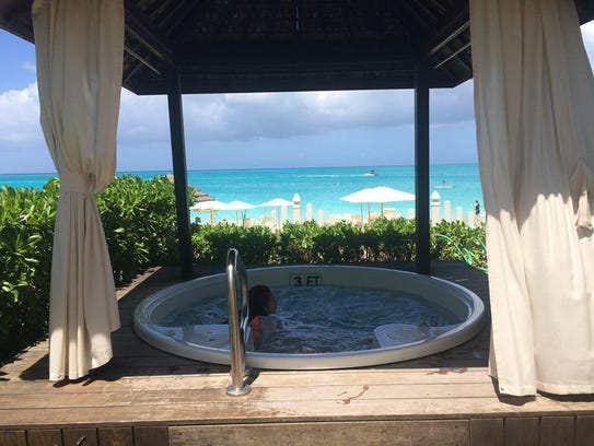Hot tub with views of the shoreline