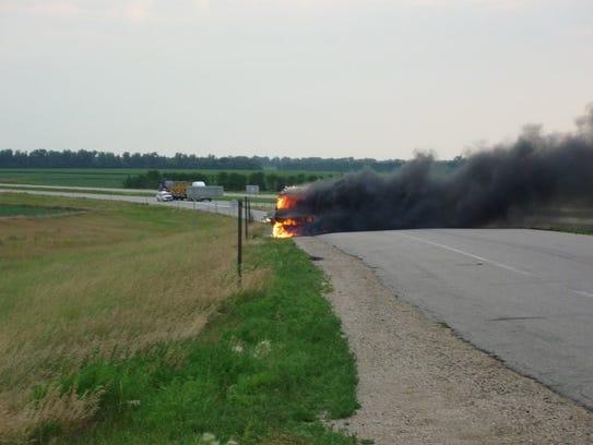 Vehicle on fire on I-29
