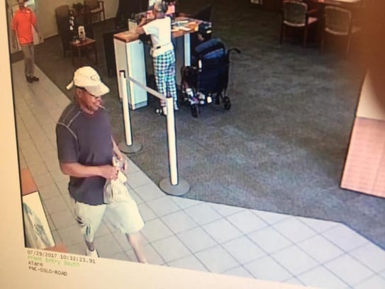 The man who robbed a PNC Bank Saturday appears in this