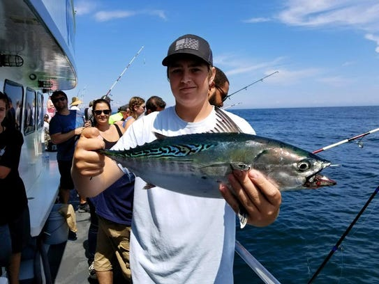 An angler holds up a false albacore landed on the Queen