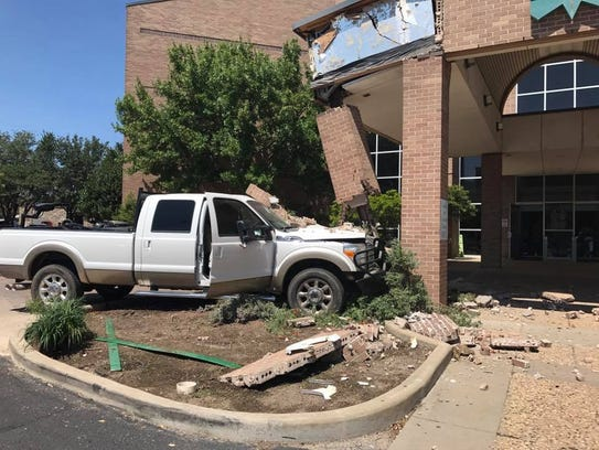 A pickup truck crashed into a pillar outside the Shannon