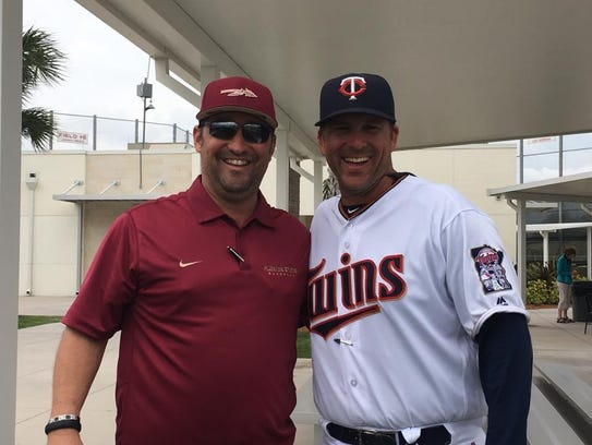 Former FSU baseball players Jack Niles, left, and Doug