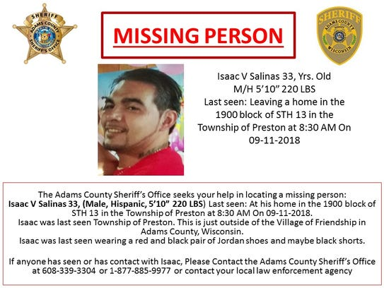Isaac V. Salinas' body was found Sept. 18, 2017, in