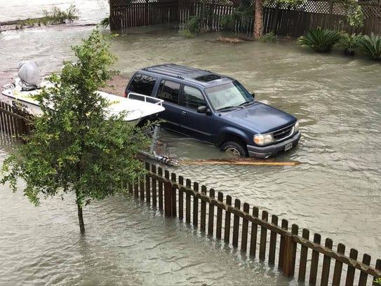 Recent flood damage from hurricane Irma on Tybee Island,