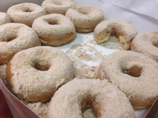 Cinnamon caramel doughnuts from Rise'n Roll bakery.