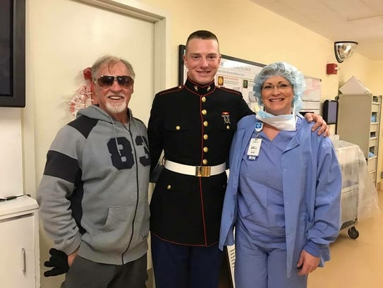 Kurstin Thomas, RN (right) with her son Lance Corporal Dylan B. Thomas. Her father  Tommy E. Sims (left) is also a veteran of the U.S. Army.