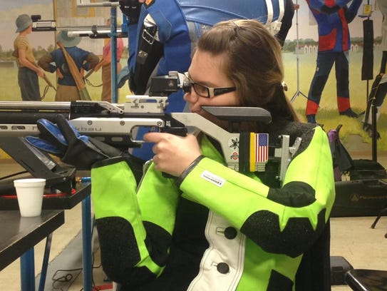 Taylor Farmer competes in 10 meter air rifle at Camp