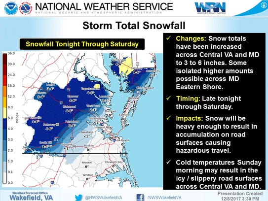 The National Weather Service forecast on Friday, Dec.